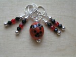 One Ladybird and bead stitch markers