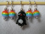 Penguin and Rainbow stitch markers