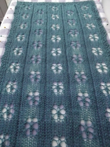 Snowflake scarf blocking - Blog pic